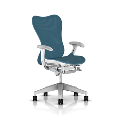 Tilt Limiter with Seat Angle Adjustment - Adj. Arms - Fog Armpad Finish - Adj. Seat Depth - Dark Turquoise Butterfly Suspension Back - Adj. Lumbar Support - Fog Base With Studio White Frame - 2.5-inch Standard Carpet Casters - Dark Turquoise AireWeave 2
