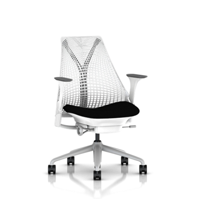 Fog Base with Studio White Y-Tower, Studio White Back, Cosmo Black Fabric Seat, Fog Armpad, Tilt Limiter with Seat Angle Adjustment, Height Adjustable Arms, Adjustable Seat Depth, Non-Adjustable Back Support, 2.5-inch Standard Carpet Casters