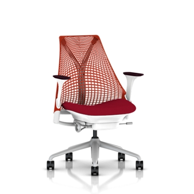 Fog Base with Studio White Y-Tower, Red Back, Cosmo Rouge Fabric Seat, Mulberry Armpad, Tilt Limiter with Seat Angle Adjustment, Height Adjustable Arms, Adjustable Seat Depth, Non-Adjustable Back Support, 2.5-inch Standard Carpet Casters