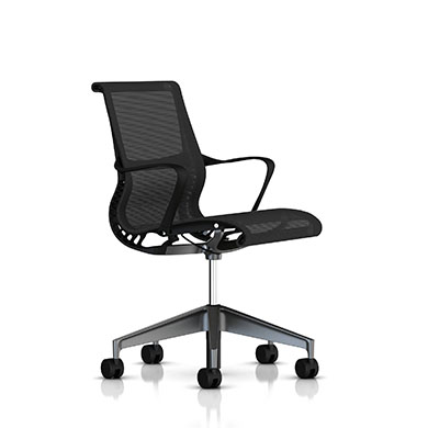 Graphite Frame - Graphite Base - Ribbon Arms - Hard Floor or Carpet Casters - None - Graphite Lyris 2 Fabric Seat and Back