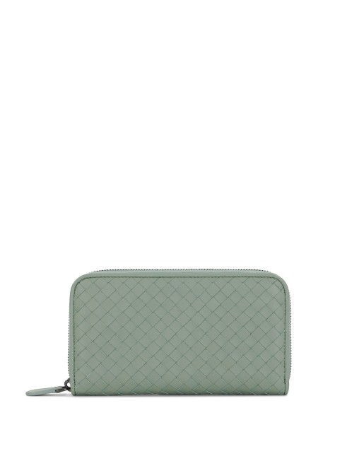 Woven Lamb Leather Zip Wallet
