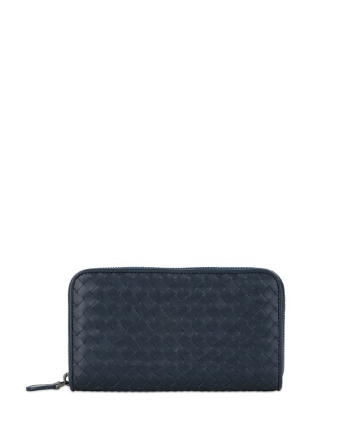 Woven Leather Long Wallet