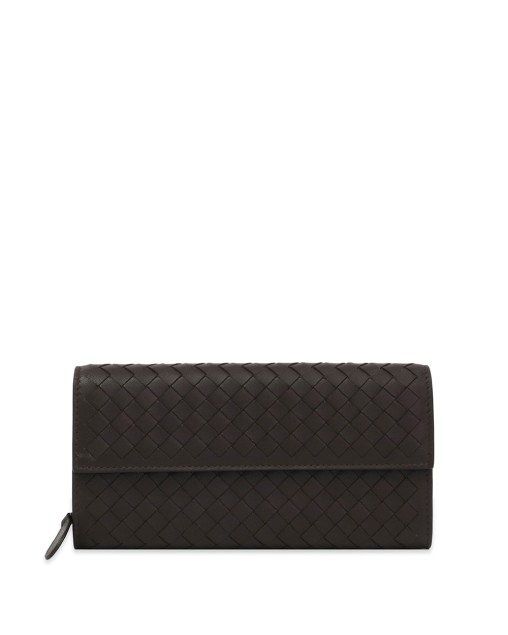 Lamb Leather Woven Long Wallet