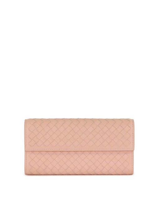 Woven Lamb Leather Long Wallet