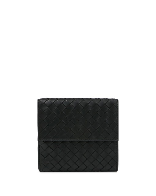 Woven Leather Short Wallet