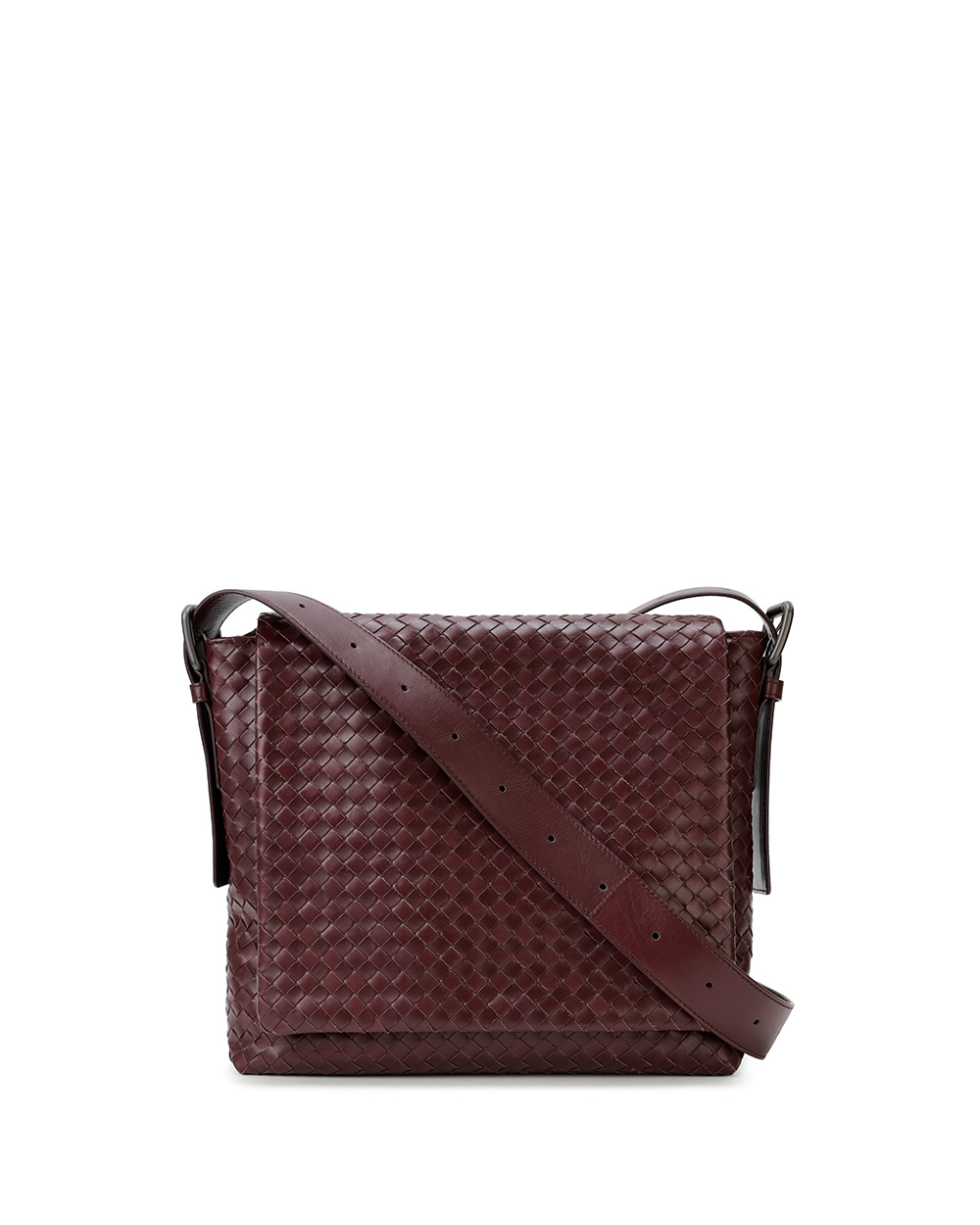 Woven Leather Crossbody Messenger Bag