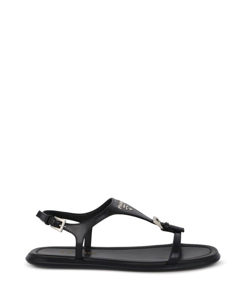 Metal Logo Strap Sandals Black