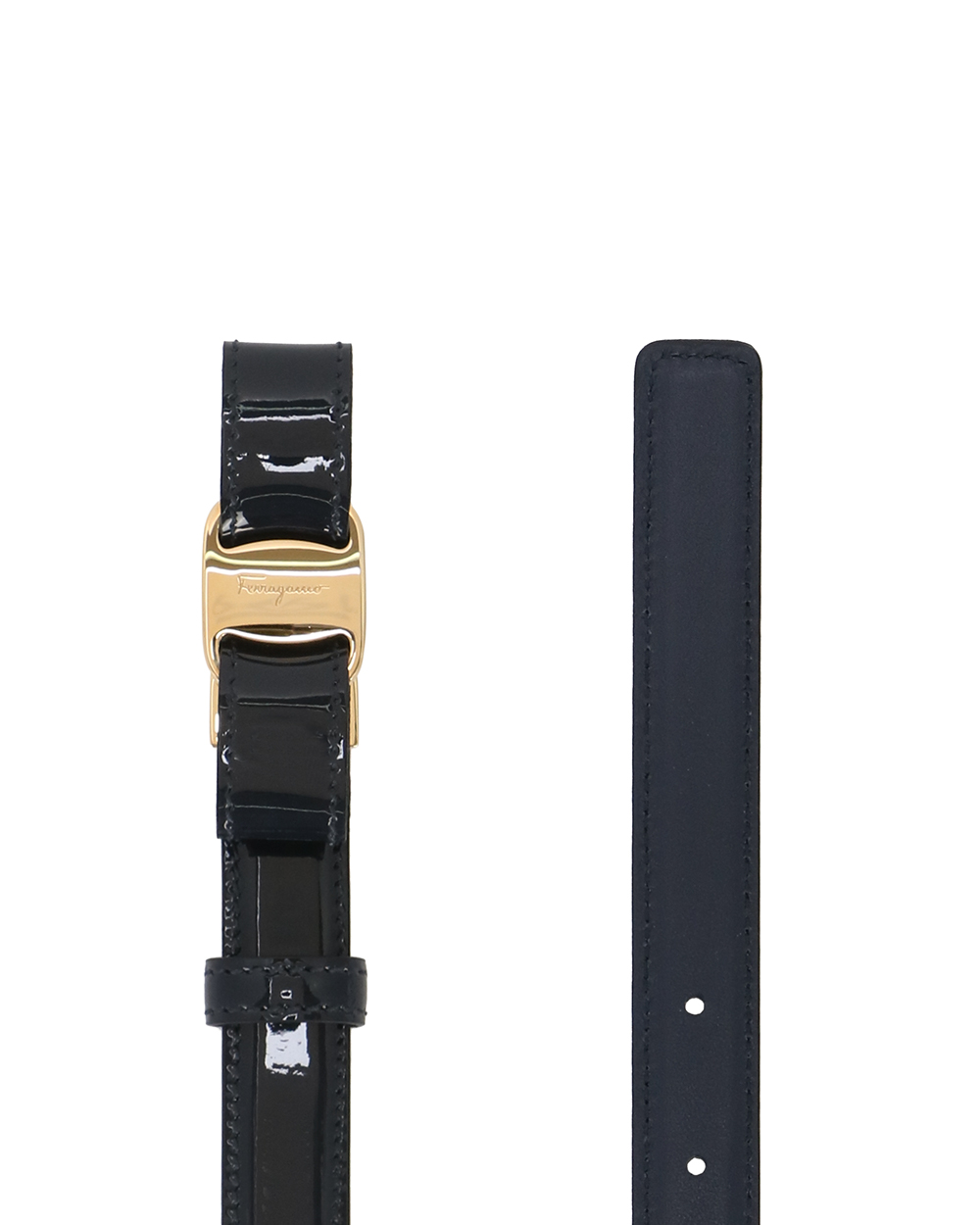 Gold LOGO Buckle Lacquered Belt 1