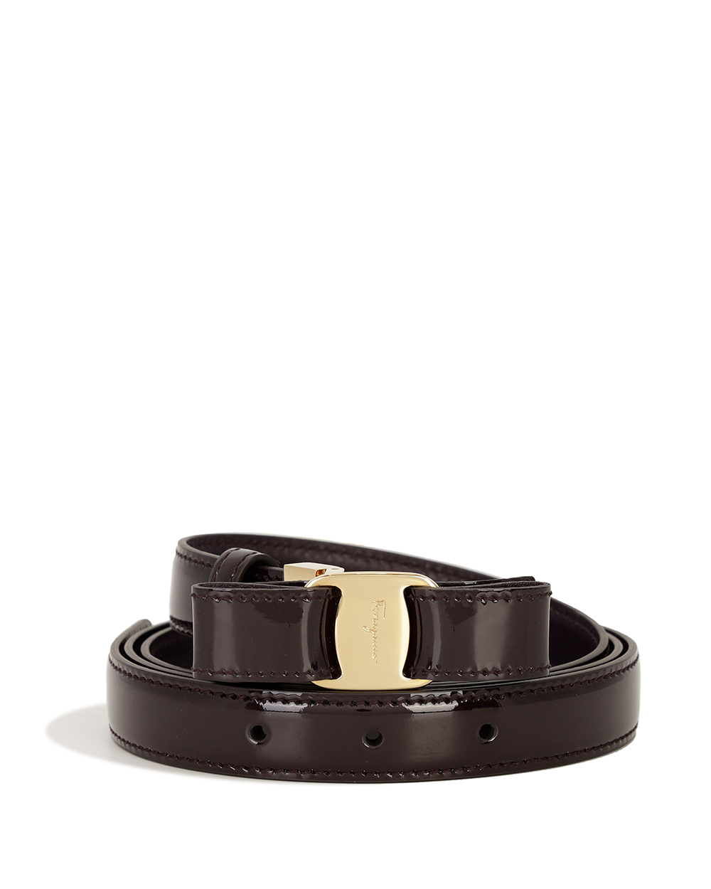 Gold LOGO Buckle Lacquered Belt