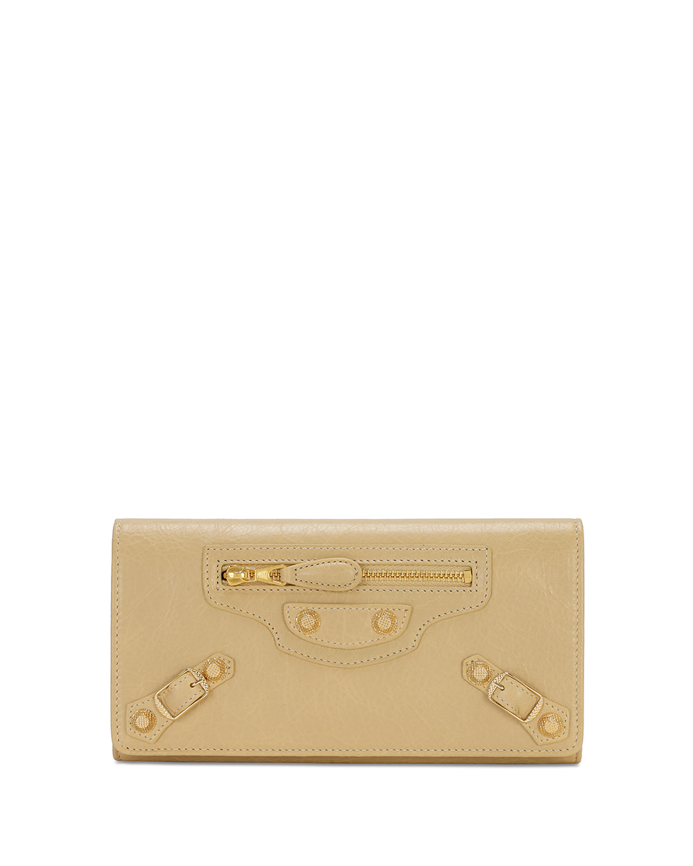 Button Lamb Leather Long Wallet