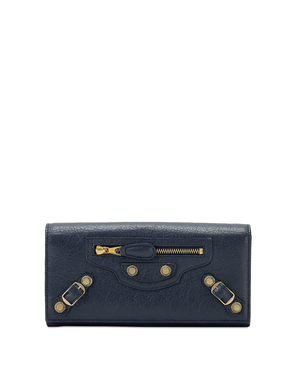 Button Leather Long Wallet