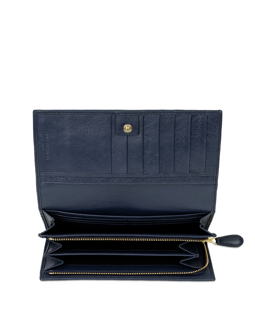Button Leather Long Wallet 1