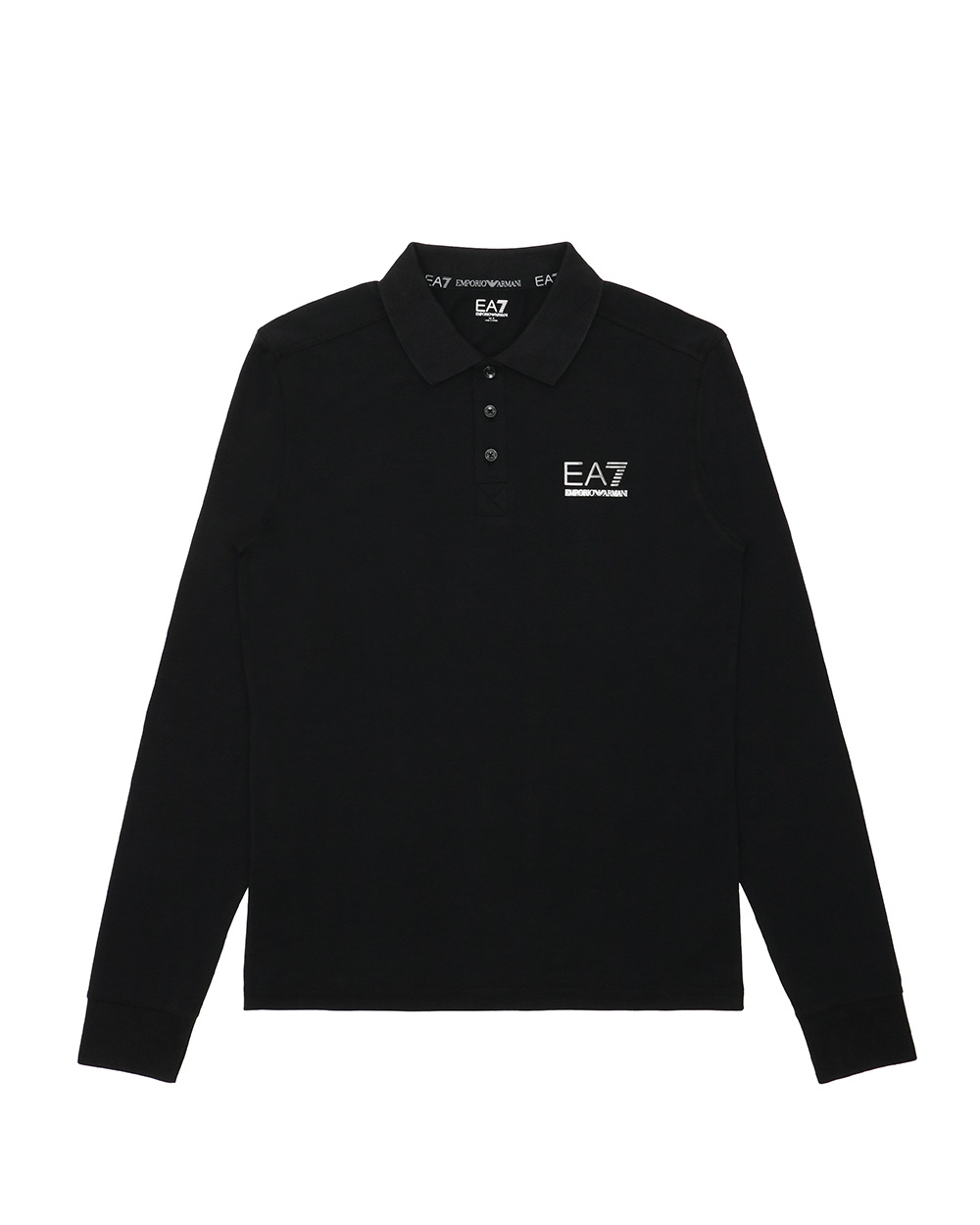 Cotton Long-Sleeved Polo Shirt