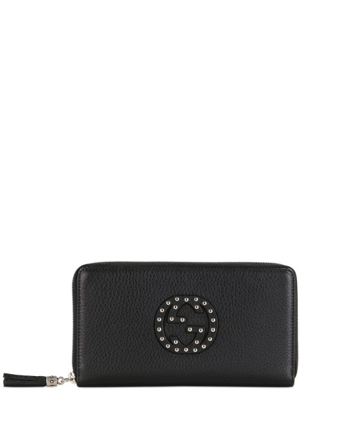 Double G Studded Zip Around Long Wallet