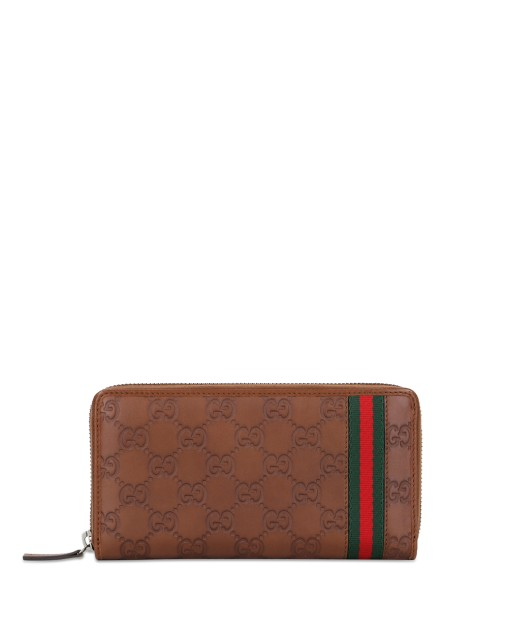 Ribbon G-LOGO Embossed Leather Zip Long Wallet