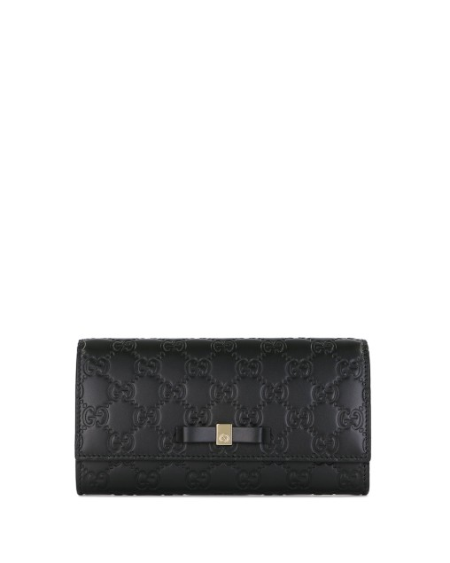 Black Bow Gucci Signature Continental Wallet