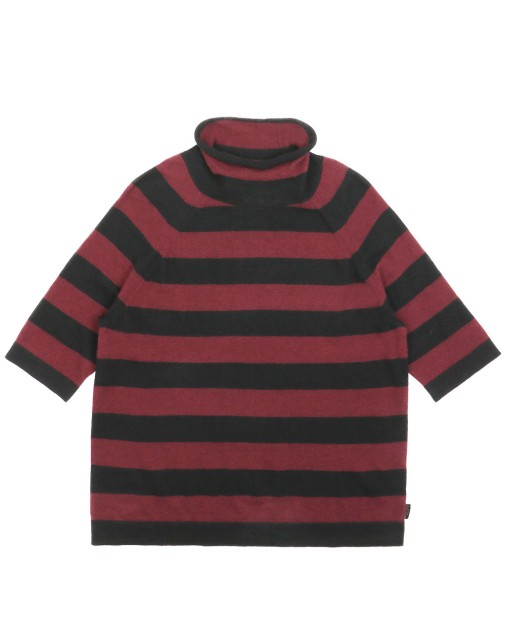 Crew Neck Stripe Short Sleeves Sweater