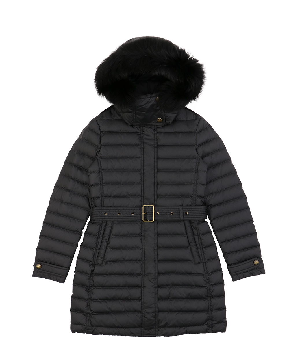 Striped Mid-Length Hooded Down Jacket