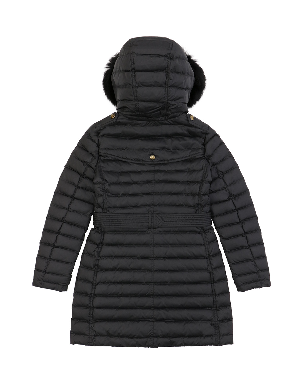 Striped Mid-Length Hooded Down Jacket 1