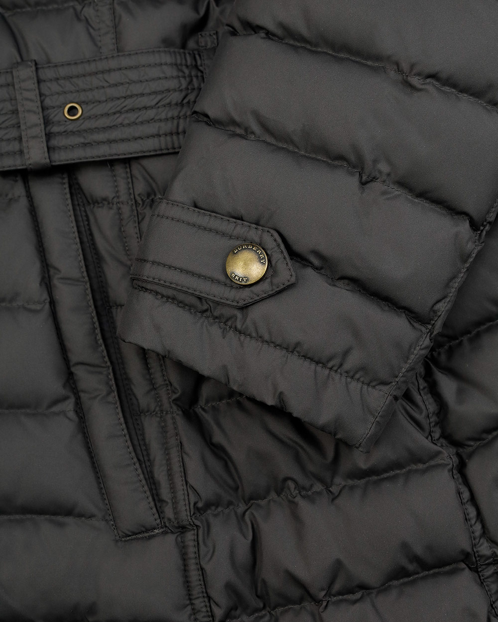 Striped Mid-Length Hooded Down Jacket 4