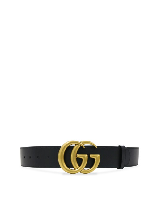 Wide Leather Belt with Double G Buckle