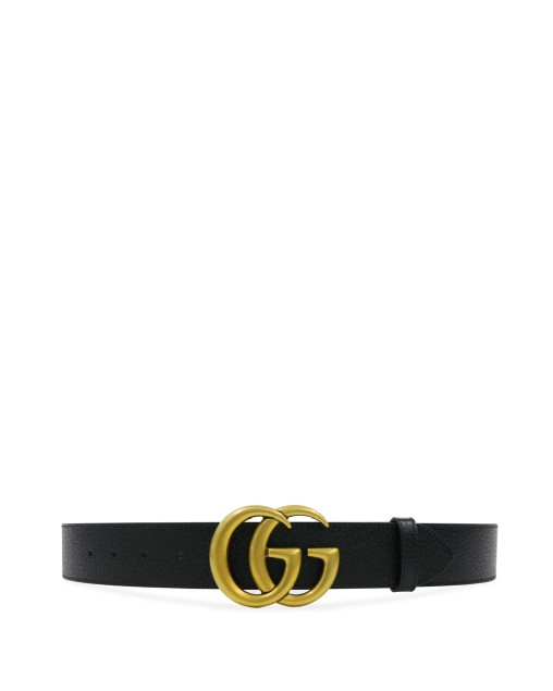 Black Wide Leather Belt with Double G Buckle