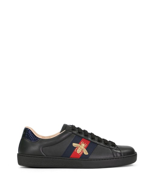 Ace Bee Embroidered Web Stripe Leather Sneakers