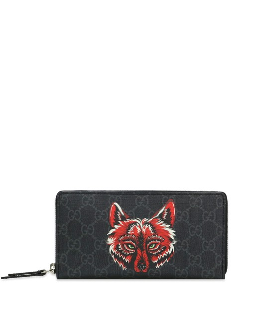 Canvas Wallet with Wolf Print