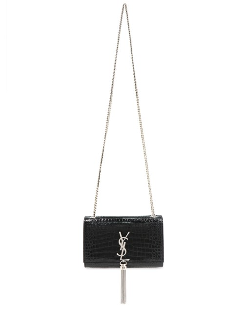 Kate Calfskin Croc Embossed Crossbody Bag with Tassle Charm