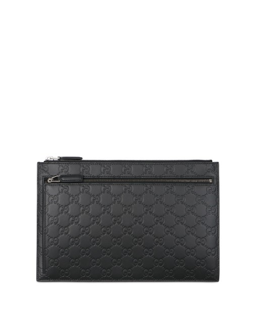 Double G Logo Leather Clutch