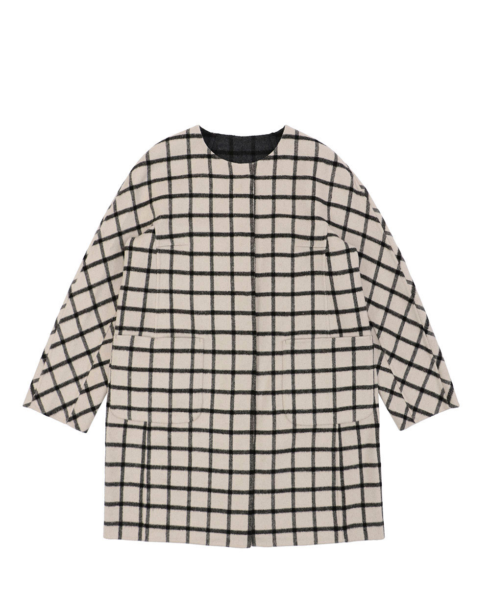 Plaid Mid-Length Trench Coat