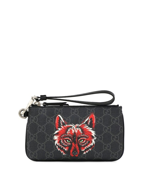 Wolf Print Double G Supreme Pouch