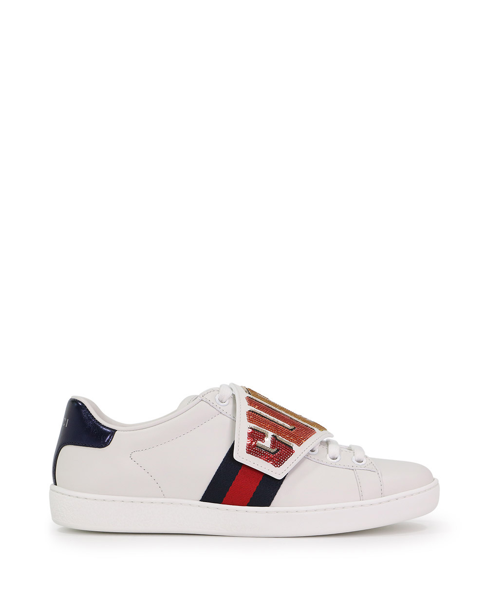 Leather Letter Applique Casual Sneakers