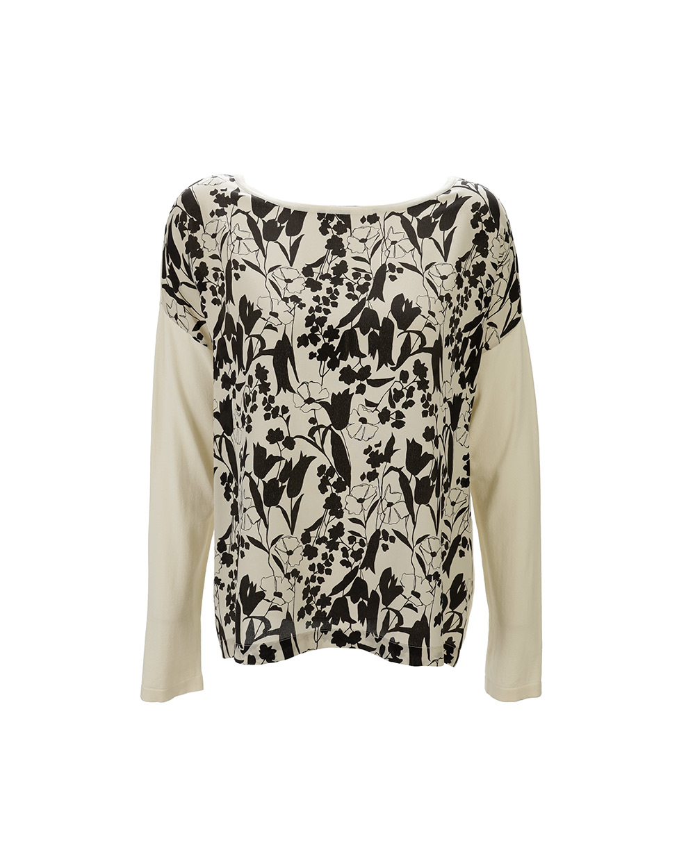 Patterned Long Sleeve Crew Neck Sweater