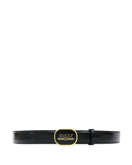 Leather Belt with Gucci Print Buckle
