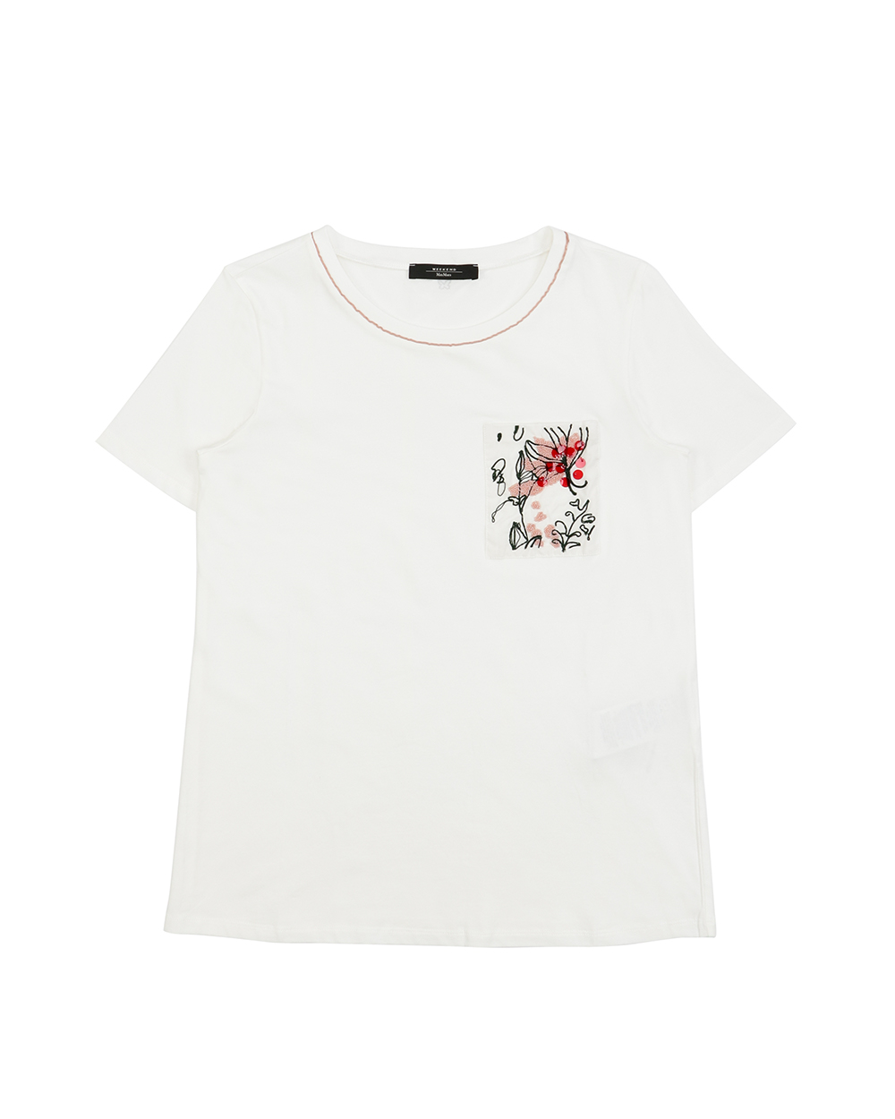 Embroidered Round Neck Short-Sleeves T-Shirt