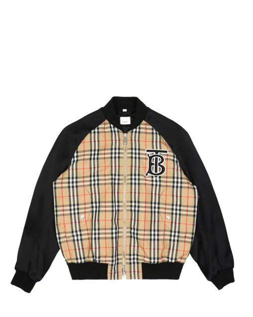 Nova Check Baseball Jacket with Solid-Color Sleeves