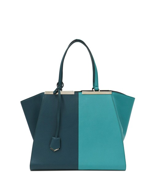 2Jours Bi-color Plain Pattern Leather Tote Bag