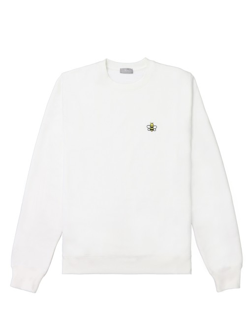 Bee Embroidered Cotton Long-sleeved Sweater