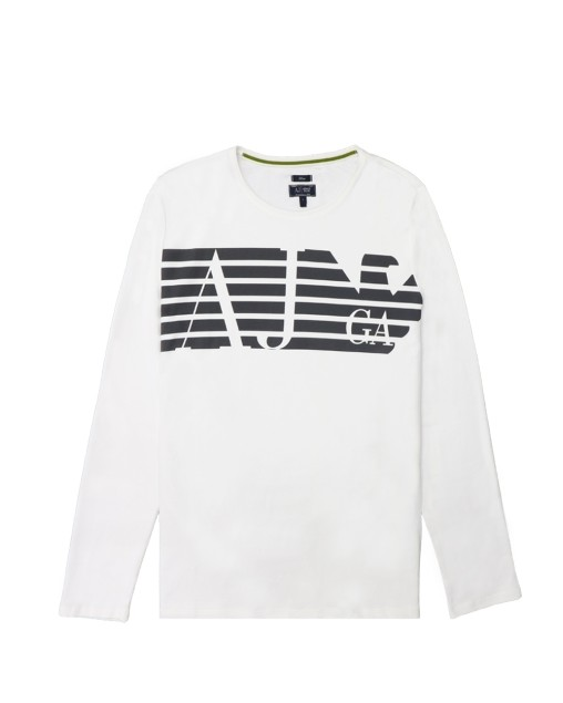 Cotton Logo Crew Neck Straight Long Sleeves T-Shirt