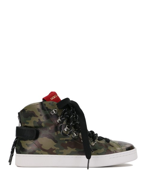 High-Top Camouflage Print Sneakers