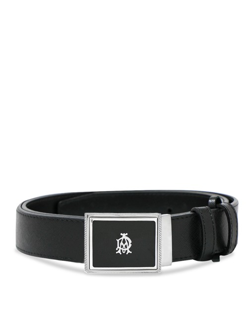 Silver Buckle Shadow Leather Belt