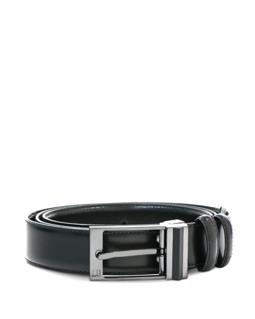Black Leather Pin Buckle Reversible Belt