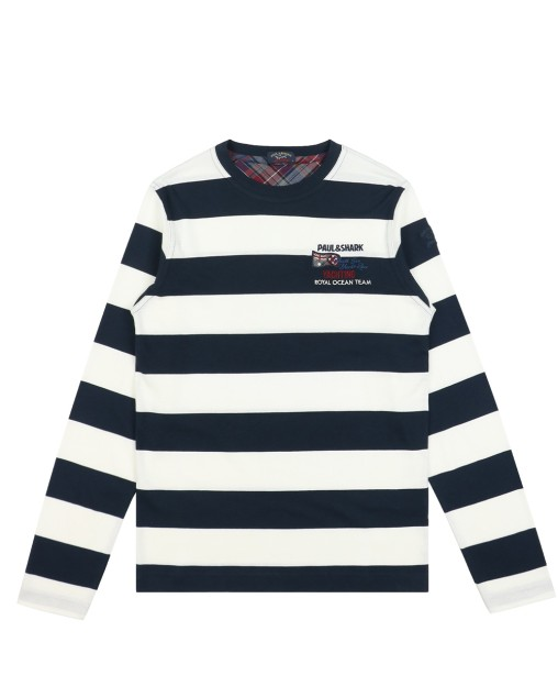 Classic Embroidered Striped Slim Long Sleeve T-Shirt