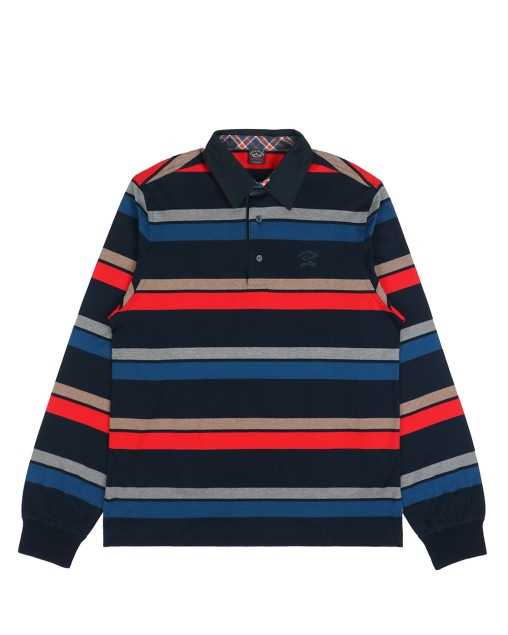 Long Sleeves Stripe Cotton Polo Shirt