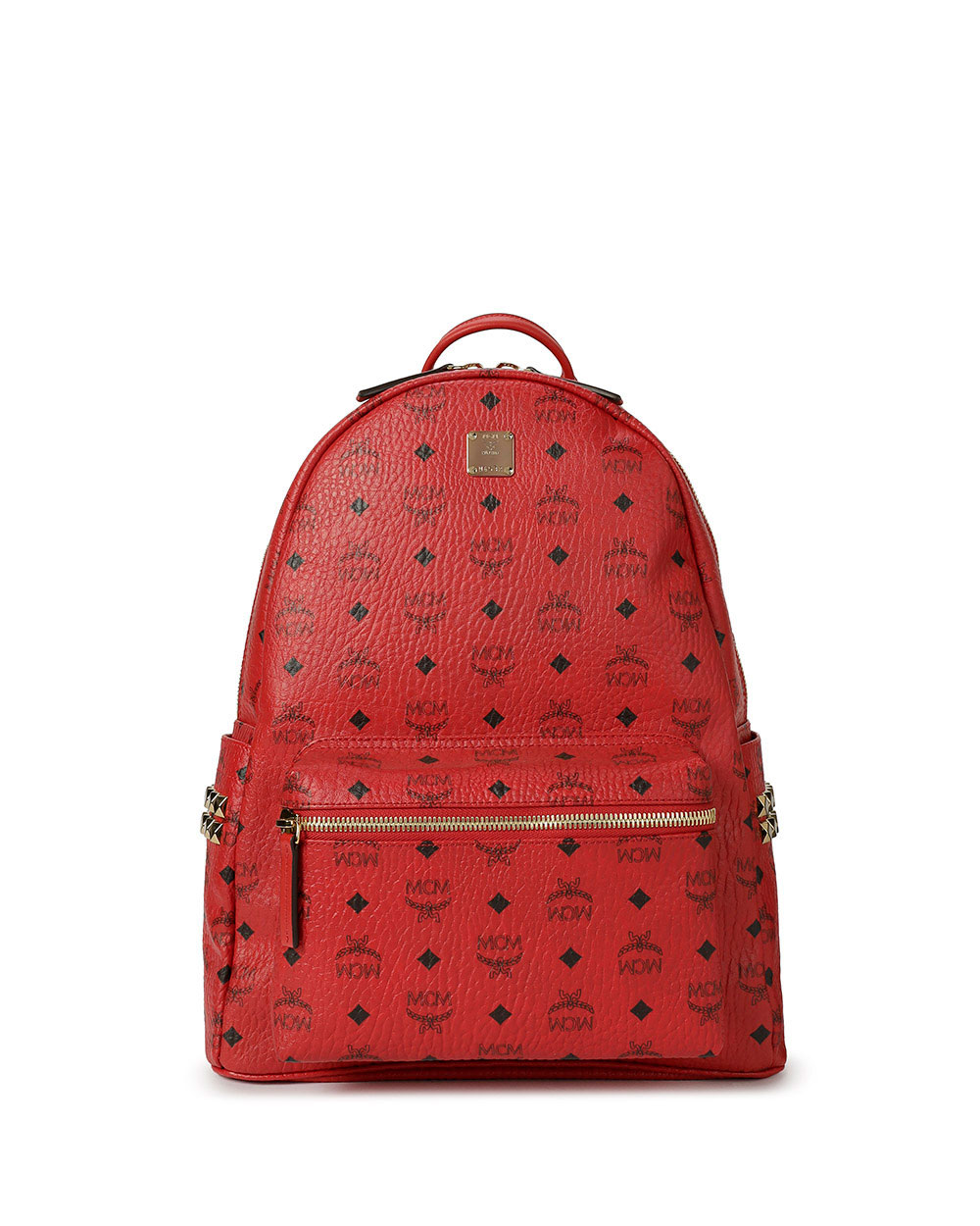 Printed Studded Leather Backpack