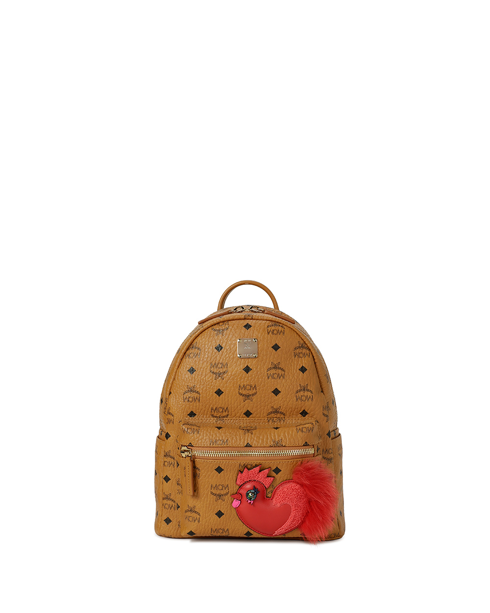 Rooster Pattern Leather Backpack