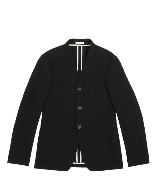 Blended Collarless Casual Jacket