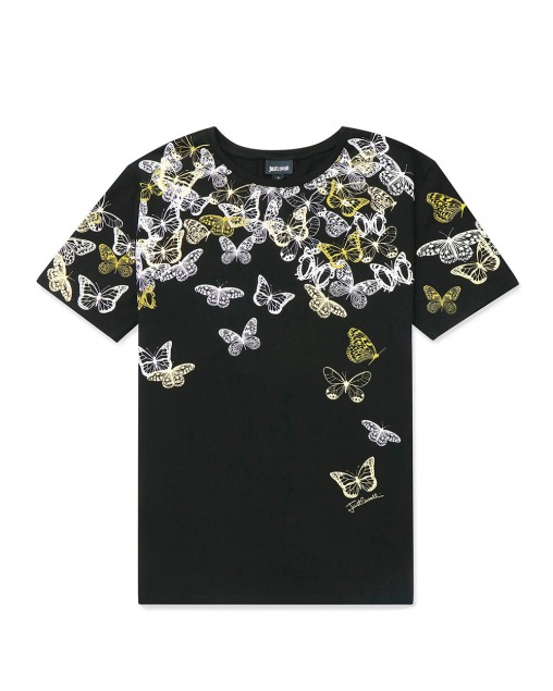 Butterfly Print Round Neck Short Sleeves T-Shirt