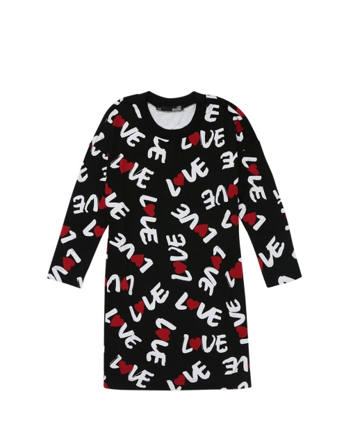 Love Moschino Long-sleeved Slogan Short One-piece Dress